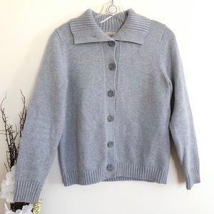 LL bean gray sweater buttoned cardigan